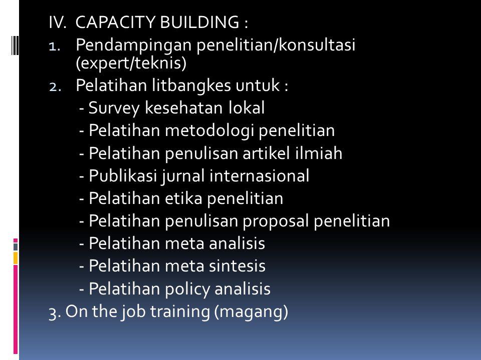 IV. CAPACITY BUILDING : 1. Pendampingan penelitian/konsultasi (expert/teknis) 2. Pelatihan litbangkes untuk : - Survey kesehatan lokal - Pelatihan met