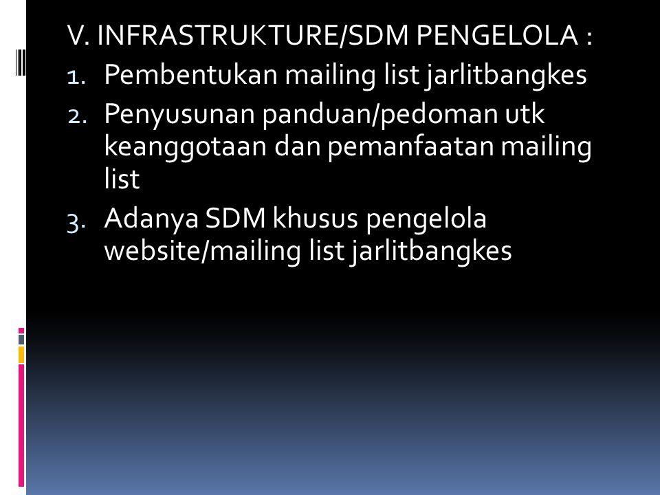 V. INFRASTRUKTURE/SDM PENGELOLA : 1. Pembentukan mailing list jarlitbangkes 2. Penyusunan panduan/pedoman utk keanggotaan dan pemanfaatan mailing list