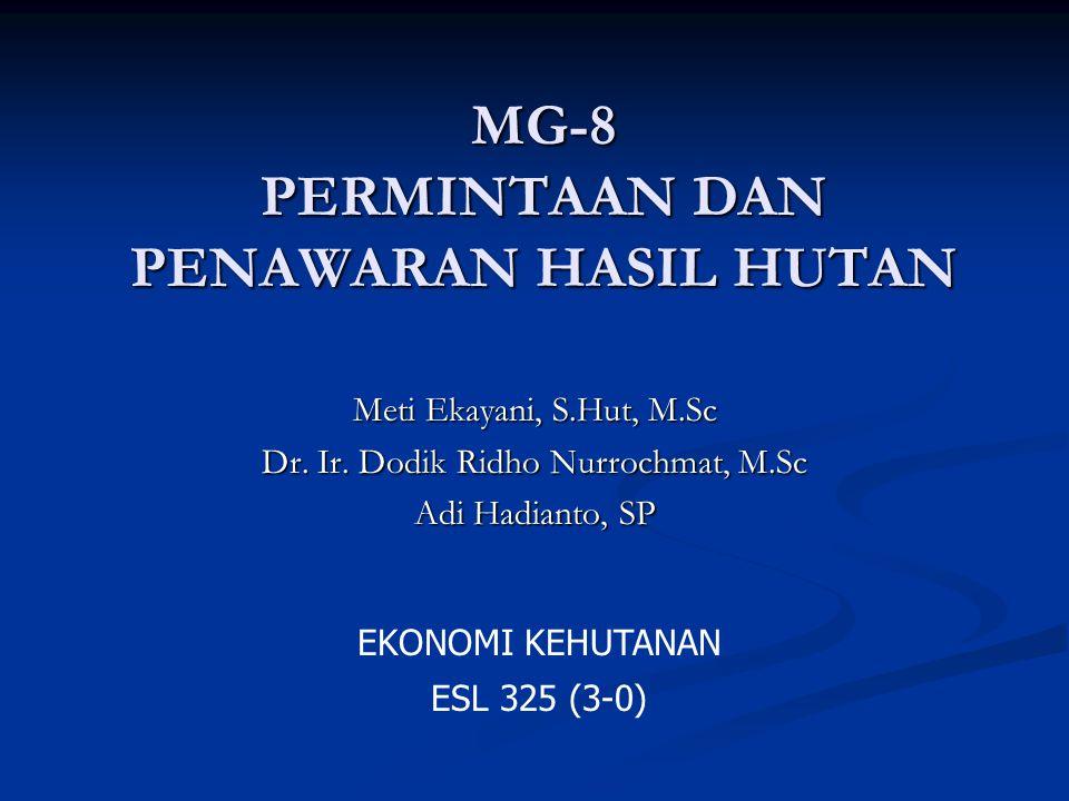 MG-8 PERMINTAAN DAN PENAWARAN HASIL HUTAN Meti Ekayani, S.Hut, M.Sc Dr. Ir. Dodik Ridho Nurrochmat, M.Sc Adi Hadianto, SP EKONOMI KEHUTANAN ESL 325 (3