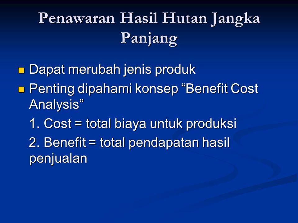"""Penawaran Hasil Hutan Jangka Panjang Dapat merubah jenis produk Dapat merubah jenis produk Penting dipahami konsep """"Benefit Cost Analysis"""" Penting dip"""