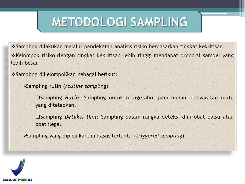  Sampling dilakukan melalui pendekatan analisis risiko berdasarkan tingkat kekritisan.  Kelompok risiko dengan tingkat kekritisan lebih tinggi menda