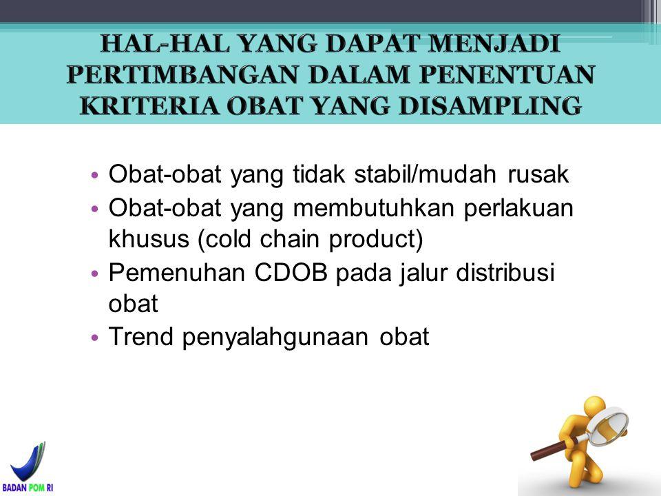 Obat-obat yang tidak stabil/mudah rusak Obat-obat yang membutuhkan perlakuan khusus (cold chain product) Pemenuhan CDOB pada jalur distribusi obat Tre