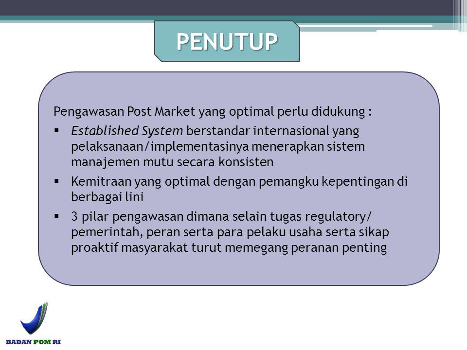PENUTUP Pengawasan Post Market yang optimal perlu didukung :  Established System berstandar internasional yang pelaksanaan/implementasinya menerapkan