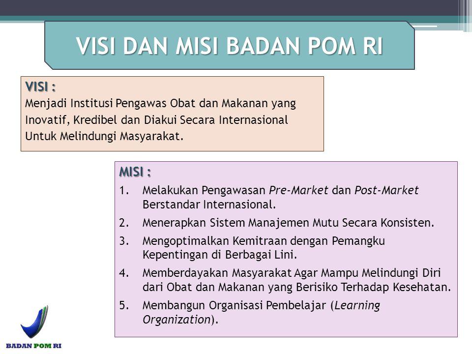 VISI : Menjadi Institusi Pengawas Obat dan Makanan yang Inovatif, Kredibel dan Diakui Secara Internasional Untuk Melindungi Masyarakat. MISI : 1.Melak