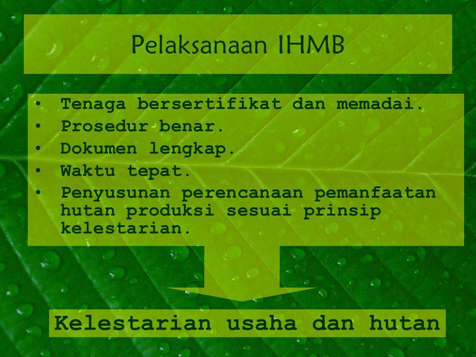 Pelaksanaan IHMB Tenaga bersertifikat dan memadai. Prosedur benar. Dokumen lengkap. Waktu tepat. Penyusunan perencanaan pemanfaatan hutan produksi ses