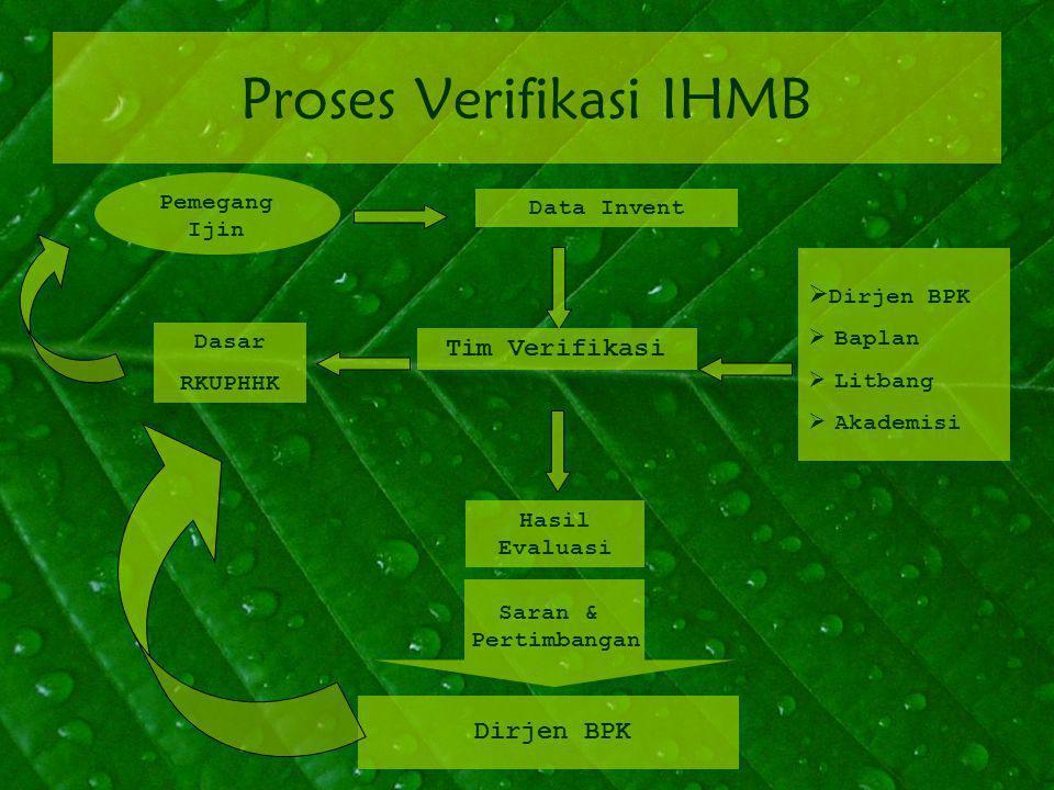 Proses Verifikasi IHMB Pemegang Ijin Data Invent Tim Verifikasi Saran & Pertimbangan Hasil Evaluasi Dirjen BPK Dasar RKUPHHK  Dirjen BPK  Baplan  Litbang  Akademisi