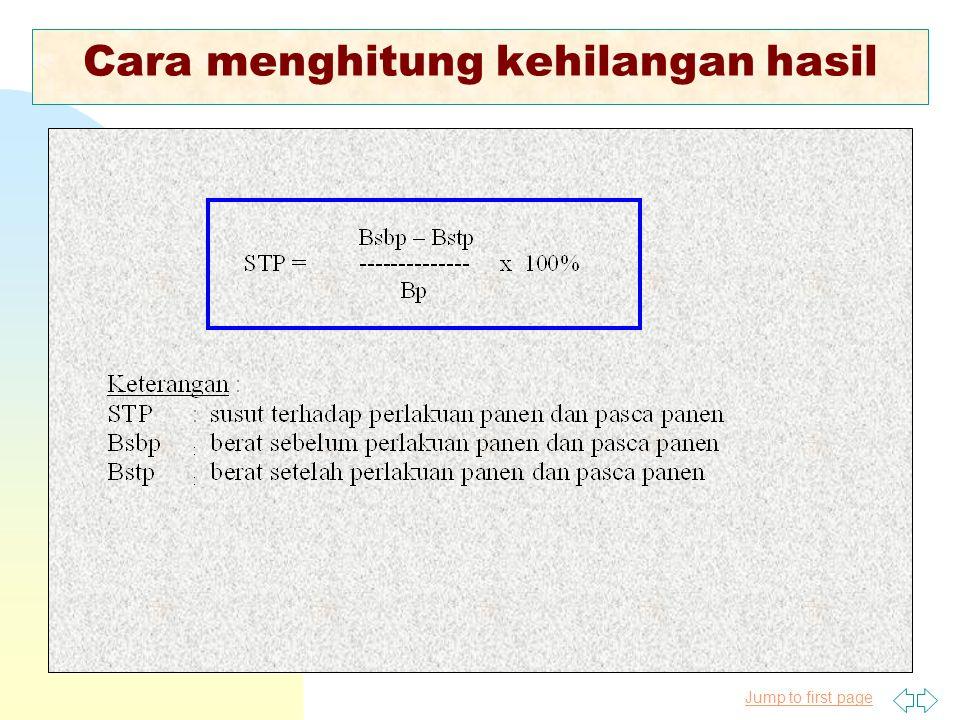 Jump to first page Metode Pengukuran Kehilangan Hasil Pasca Panen Padi 1.Susut Saat Panen 2.Susut Perontokan 3.Susut Pengangkutan Gabah dari Sawah 4.S