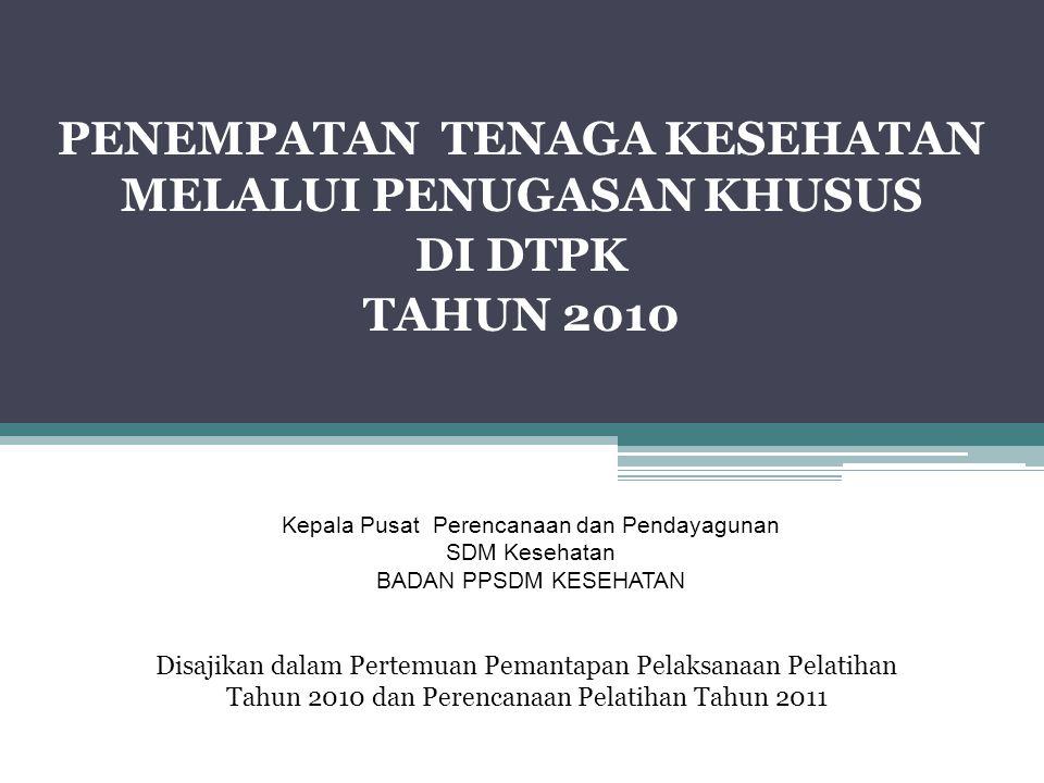 PENEMPATAN TENAGA KESEHATAN MELALUI PENUGASAN KHUSUS DI DTPK TAHUN 2010 Disajikan dalam Pertemuan Pemantapan Pelaksanaan Pelatihan Tahun 2010 dan Pere