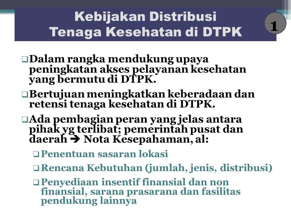 Kebijakan Distribusi Tenaga Kesehatan di DTPK  Dalam rangka mendukung upaya peningkatan akses pelayanan kesehatan yang bermutu di DTPK.  Bertujuan m