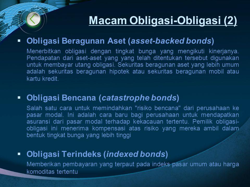 Macam Obligasi-Obligasi (2)  Obligasi Beragunan Aset (asset-backed bonds) Menerbitkan obligasi dengan tingkat bunga yang mengikuti kinerjanya. Pendap