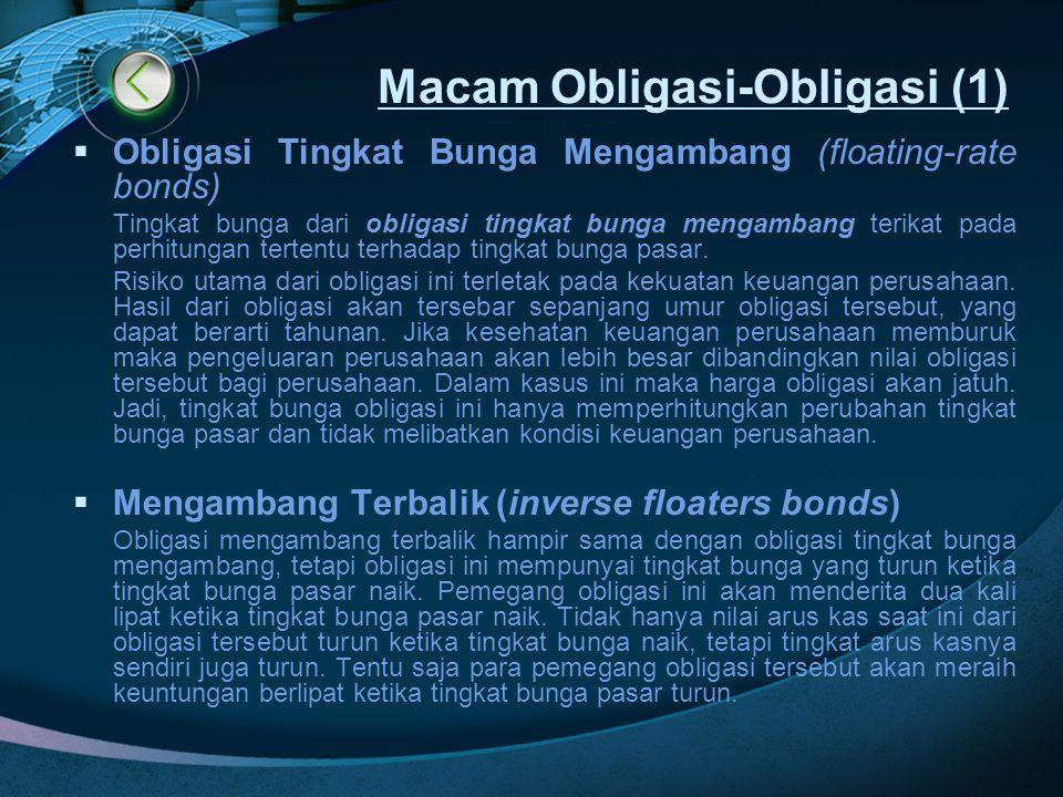 Macam Obligasi-Obligasi (1)  Obligasi Tingkat Bunga Mengambang (floating-rate bonds) Tingkat bunga dari obligasi tingkat bunga mengambang terikat pad