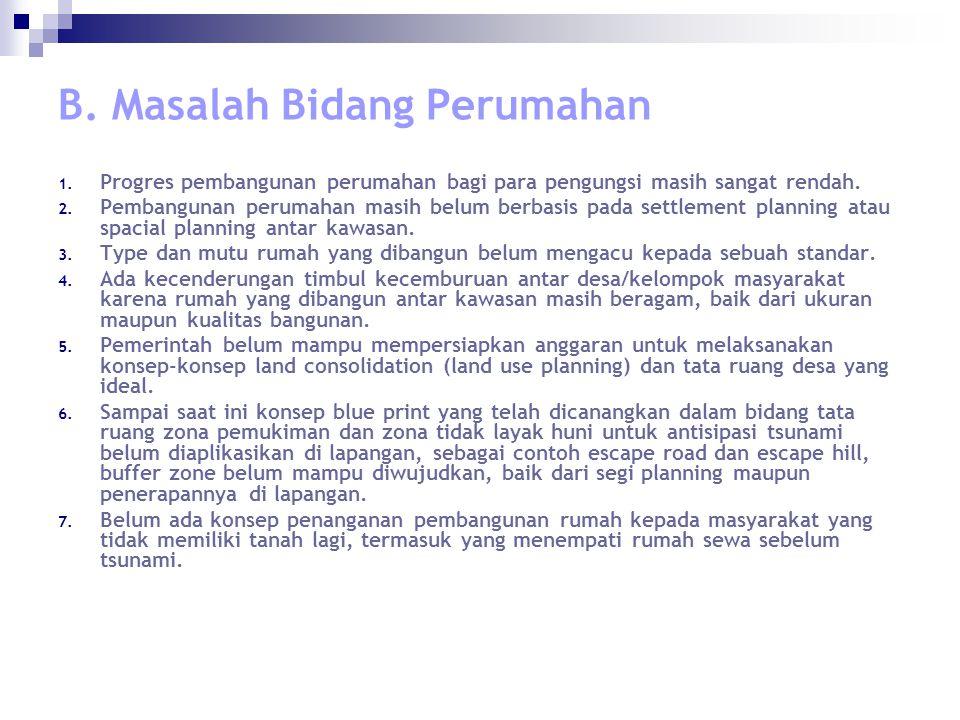 B. Masalah Bidang Perumahan 1.