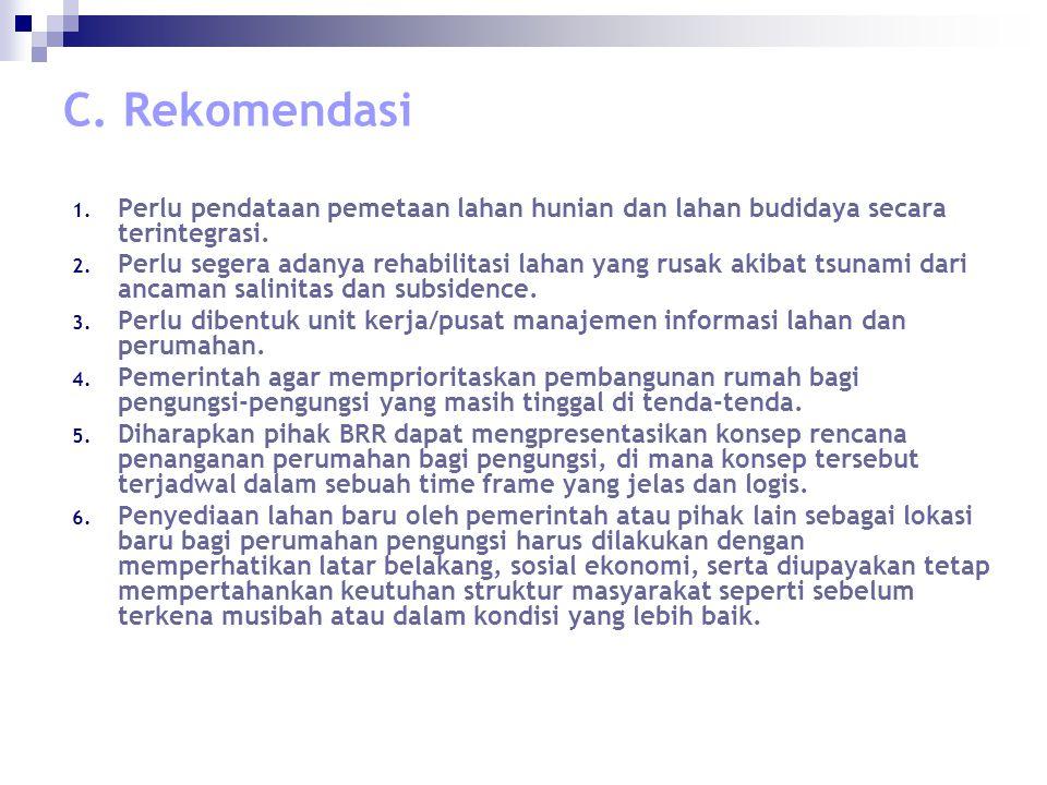 C. Rekomendasi 1. Perlu pendataan pemetaan lahan hunian dan lahan budidaya secara terintegrasi.