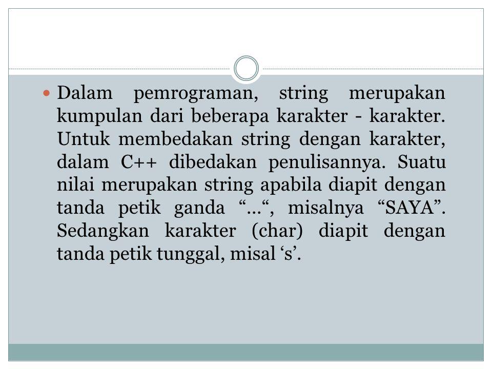 Dalam pemrograman, string merupakan kumpulan dari beberapa karakter - karakter.