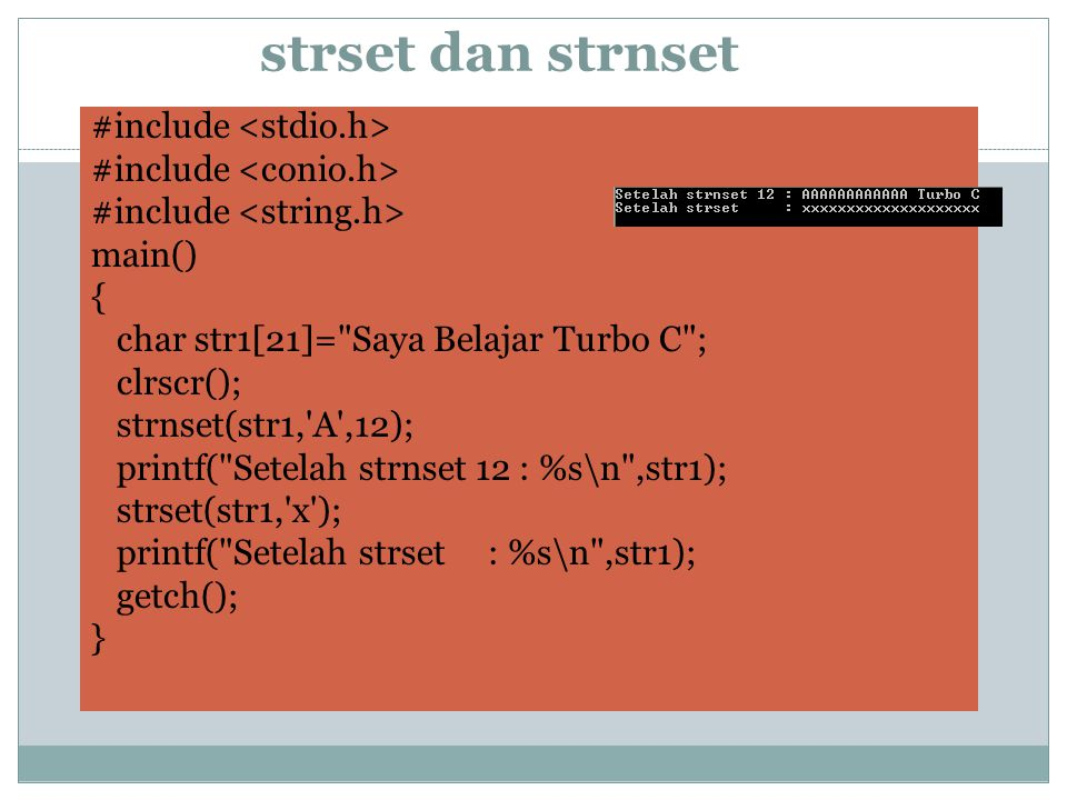 strset dan strnset #include main() { char str1[21]=