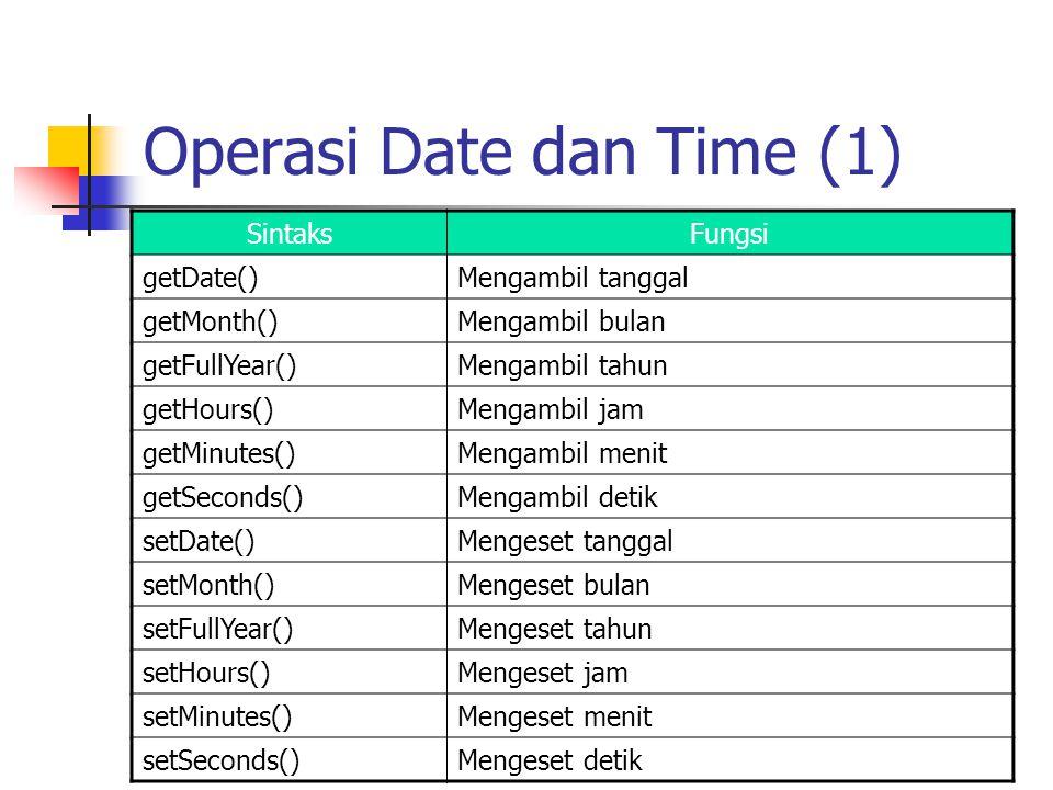 Operasi Date dan Time (1) SintaksFungsi getDate()Mengambil tanggal getMonth()Mengambil bulan getFullYear()Mengambil tahun getHours()Mengambil jam getM