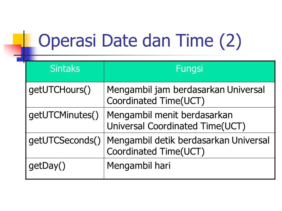 Operasi Date dan Time (2) SintaksFungsi getUTCHours()Mengambil jam berdasarkan Universal Coordinated Time(UCT) getUTCMinutes()Mengambil menit berdasar