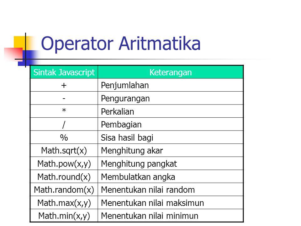 Operator Aritmatika Sintak JavascriptKeterangan +Penjumlahan -Pengurangan *Perkalian /Pembagian %Sisa hasil bagi Math.sqrt(x)Menghitung akar Math.pow(