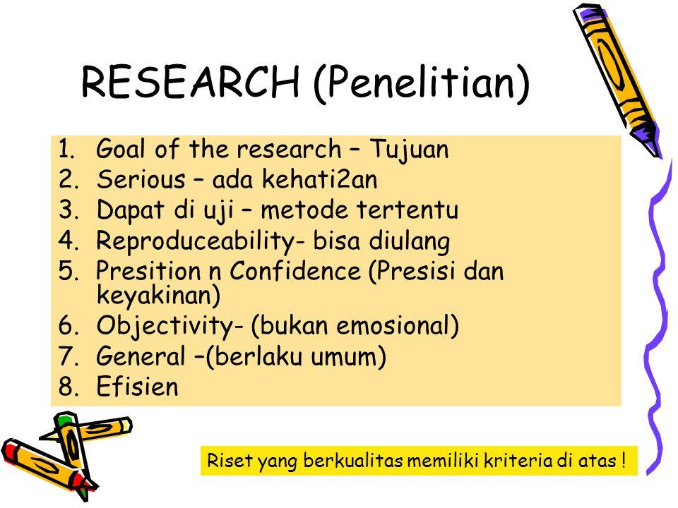 RESEARCH (Penelitian) 1.Goal of the research – Tujuan 2.Serious – ada kehati2an 3.Dapat di uji – metode tertentu 4.Reproduceability- bisa diulang 5.Pr