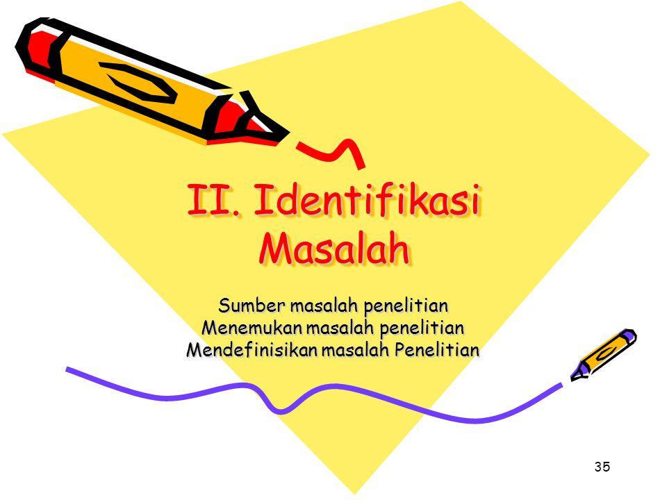 35 II. Identifikasi Masalah Sumber masalah penelitian Menemukan masalah penelitian Mendefinisikan masalah Penelitian