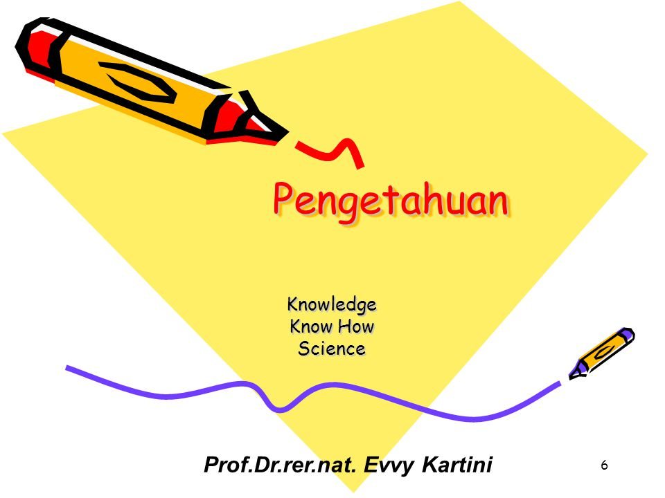 6 PengetahuanPengetahuan Knowledge Know How Science Prof.Dr.rer.nat. Evvy Kartini