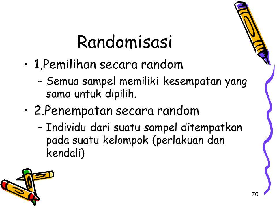 70 Randomisasi 1,Pemilihan secara random –Semua sampel memiliki kesempatan yang sama untuk dipilih. 2.Penempatan secara random –Individu dari suatu sa