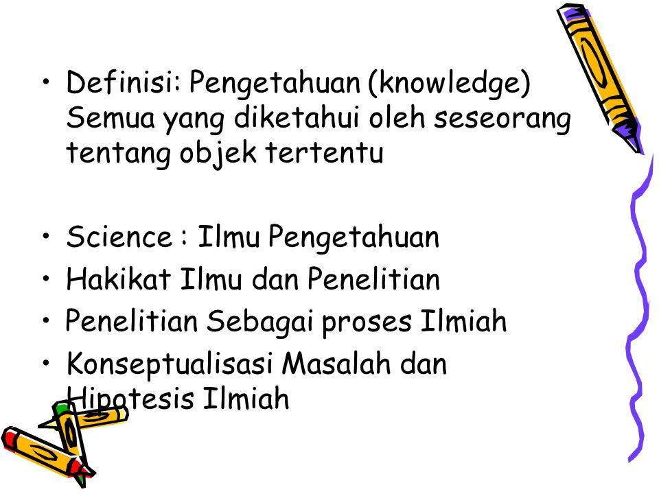 Definisi: Pengetahuan (knowledge) Semua yang diketahui oleh seseorang tentang objek tertentu Science : Ilmu Pengetahuan Hakikat Ilmu dan Penelitian Pe