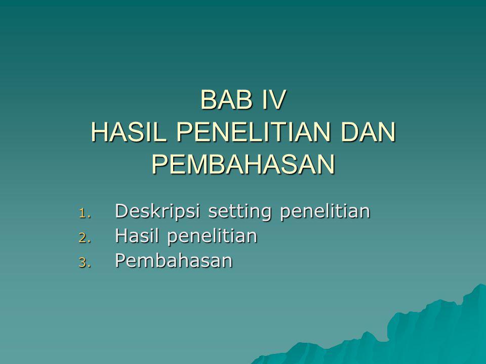 BAB IV HASIL PENELITIAN DAN PEMBAHASAN 1. Deskripsi setting penelitian 2. Hasil penelitian 3. Pembahasan