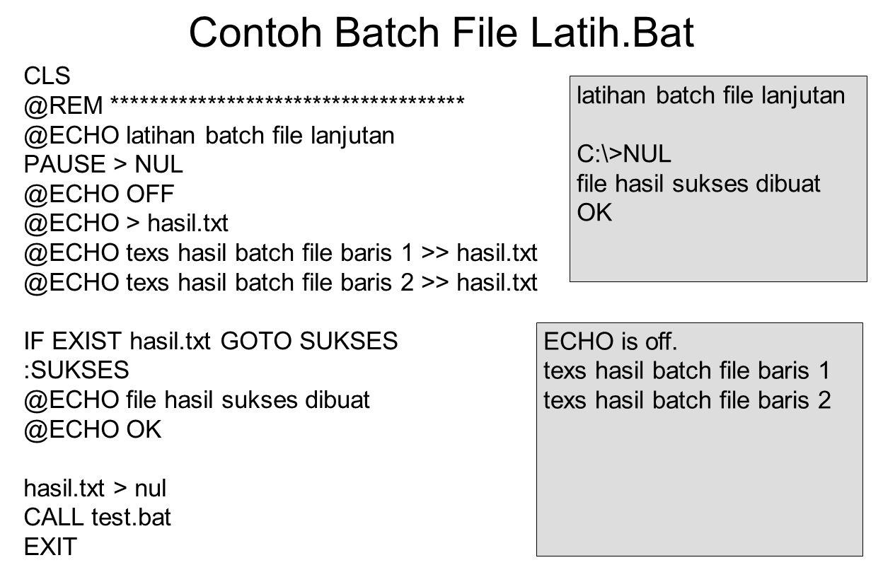 Contoh Batch File Latih.Bat CLS @REM ************************************* @ECHO latihan batch file lanjutan PAUSE > NUL @ECHO OFF @ECHO > hasil.txt @