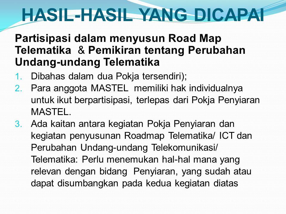 HASIL-HASIL YANG DICAPAI Partisipasi dalam menyusun Road Map Telematika & Pemikiran tentang Perubahan Undang-undang Telematika 1.