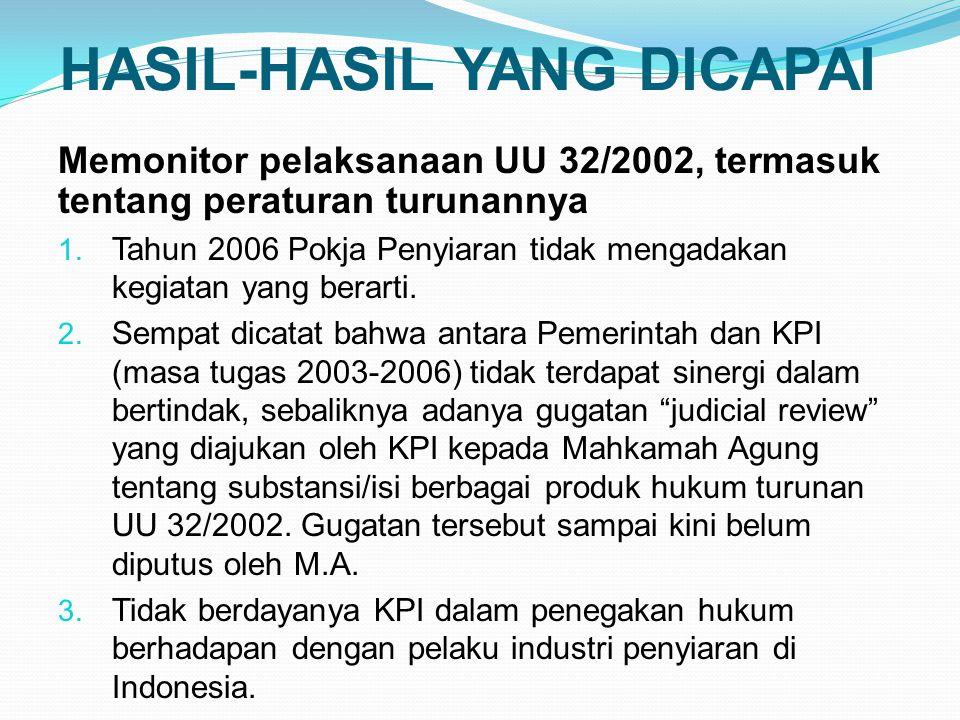 HASIL-HASIL YANG DICAPAI Memonitor pelaksanaan UU 32/2002, termasuk tentang peraturan turunannya 1.