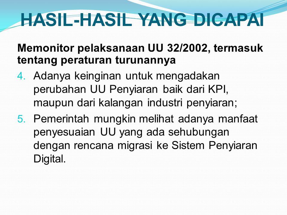 HASIL-HASIL YANG DICAPAI Memonitor pelaksanaan UU 32/2002, termasuk tentang peraturan turunannya 4.