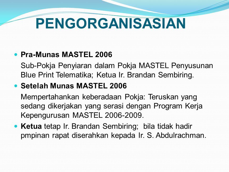 PENGORGANISASIAN Pra-Munas MASTEL 2006 Sub-Pokja Penyiaran dalam Pokja MASTEL Penyusunan Blue Print Telematika; Ketua Ir.
