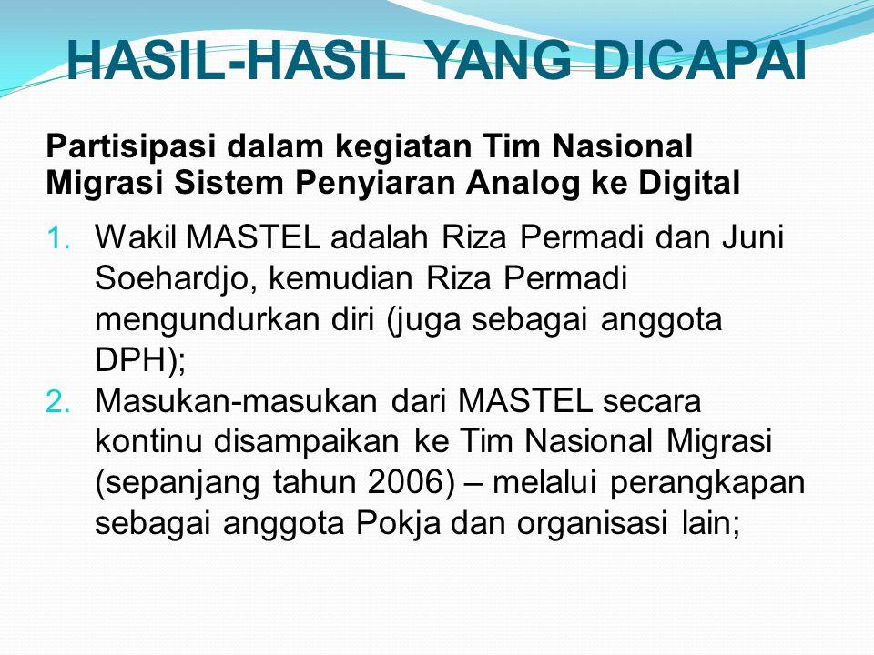 HASIL-HASIL YANG DICAPAI Partisipasi dalam kegiatan Tim Nasional Migrasi Sistem Penyiaran Analog ke Digital 1.
