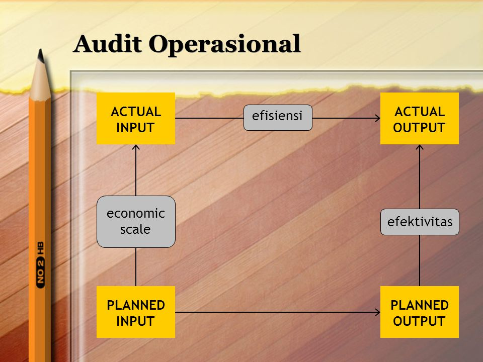 Audit Operasional ACTUAL INPUT PLANNED INPUT ACTUAL OUTPUT PLANNED OUTPUT economic scale efisiensi efektivitas