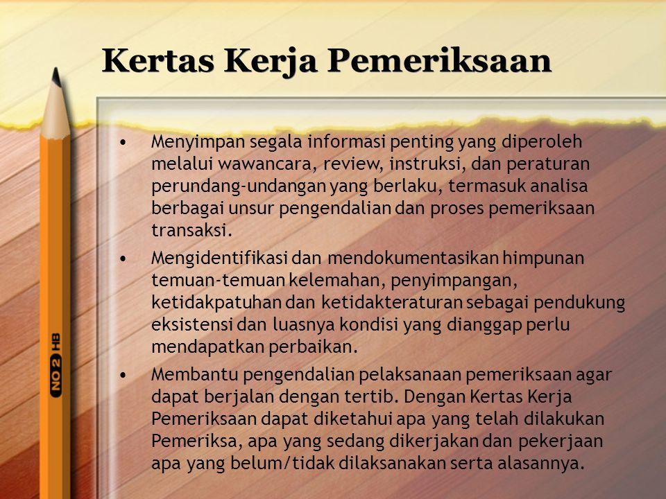 Kertas Kerja Pemeriksaan Menyimpan segala informasi penting yang diperoleh melalui wawancara, review, instruksi, dan peraturan perundang-undangan yang