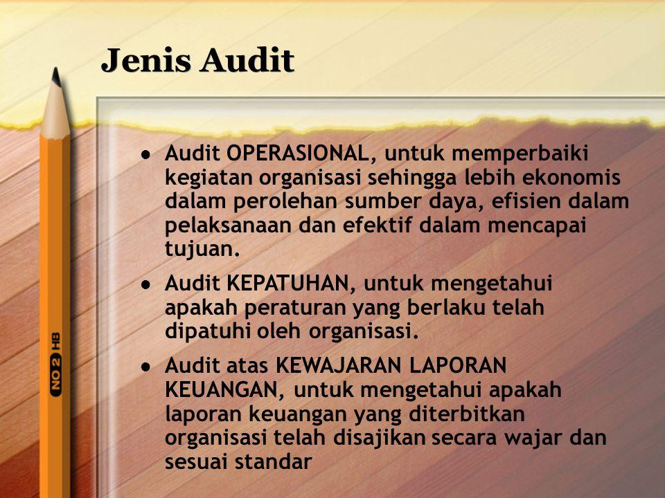 Jenis Audit Audit OPERASIONAL, untuk memperbaiki kegiatan organisasi sehingga lebih ekonomis dalam perolehan sumber daya, efisien dalam pelaksanaan da