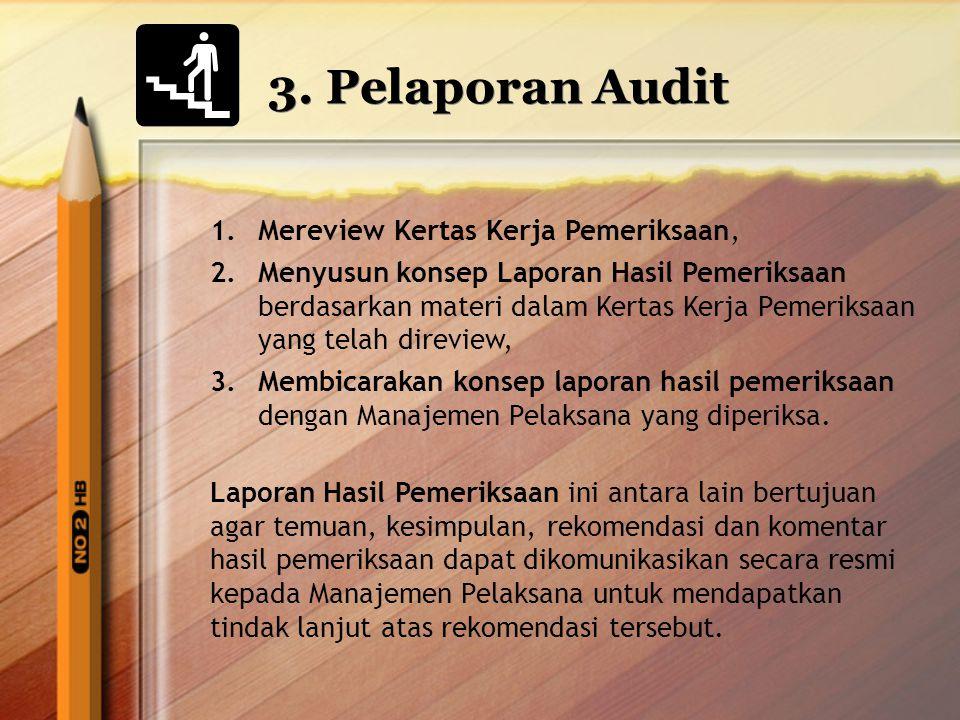 3. Pelaporan Audit 1.Mereview Kertas Kerja Pemeriksaan, 2.Menyusun konsep Laporan Hasil Pemeriksaan berdasarkan materi dalam Kertas Kerja Pemeriksaan
