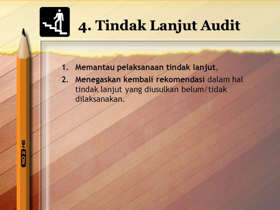 4. Tindak Lanjut Audit 1.Memantau pelaksanaan tindak lanjut, 2.Menegaskan kembali rekomendasi dalam hal tindak lanjut yang diusulkan belum/tidak dilak