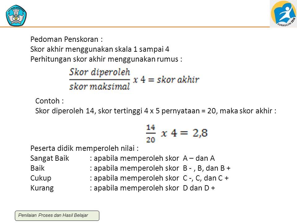 Pedoman Penskoran : Skor akhir menggunakan skala 1 sampai 4 Perhitungan skor akhir menggunakan rumus : Contoh : Skor diperoleh 14, skor tertinggi 4 x