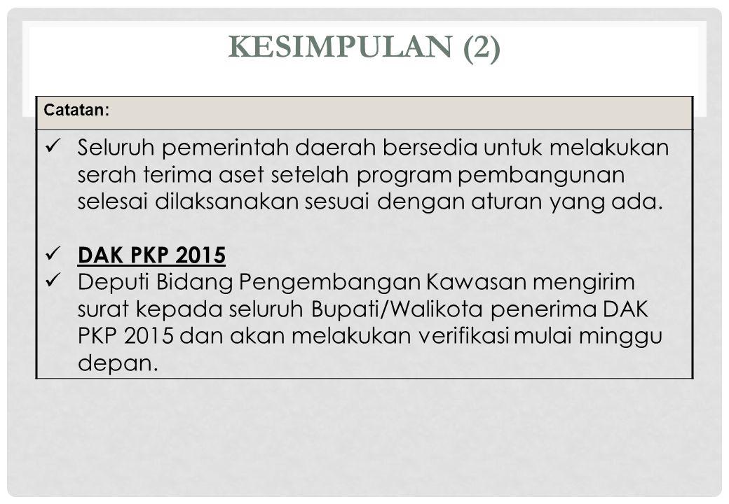 KESIMPULAN (2) Catatan: Seluruh pemerintah daerah bersedia untuk melakukan serah terima aset setelah program pembangunan selesai dilaksanakan sesuai d