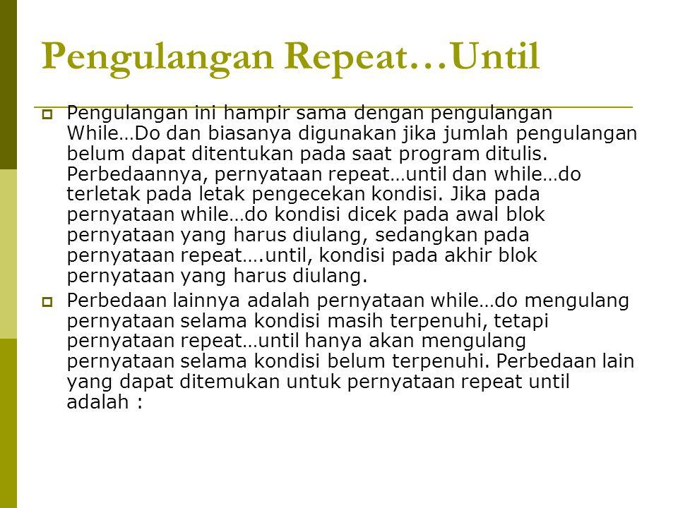 Pengulangan Repeat…Until  Pengulangan ini hampir sama dengan pengulangan While…Do dan biasanya digunakan jika jumlah pengulangan belum dapat ditentuk