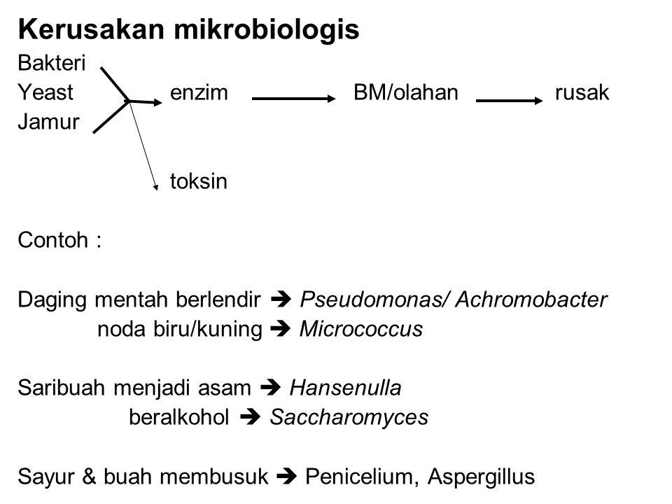 Kerusakan mikrobiologis Bakteri Yeast enzimBM/olahanrusak Jamur toksin Contoh : Daging mentah berlendir  Pseudomonas/ Achromobacter noda biru/kuning