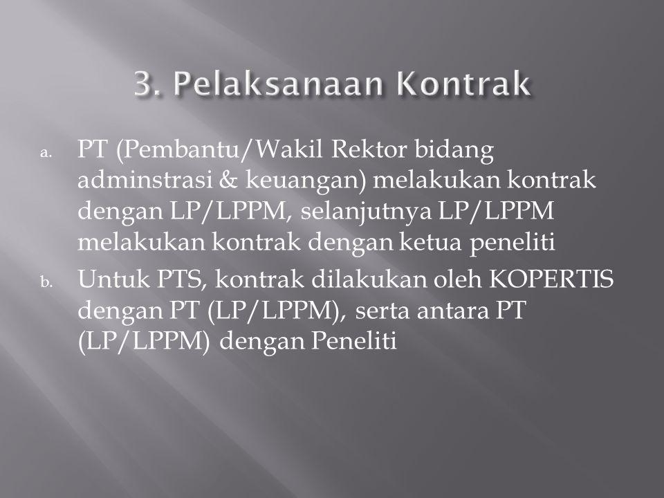 a. PT (Pembantu/Wakil Rektor bidang adminstrasi & keuangan) melakukan kontrak dengan LP/LPPM, selanjutnya LP/LPPM melakukan kontrak dengan ketua penel