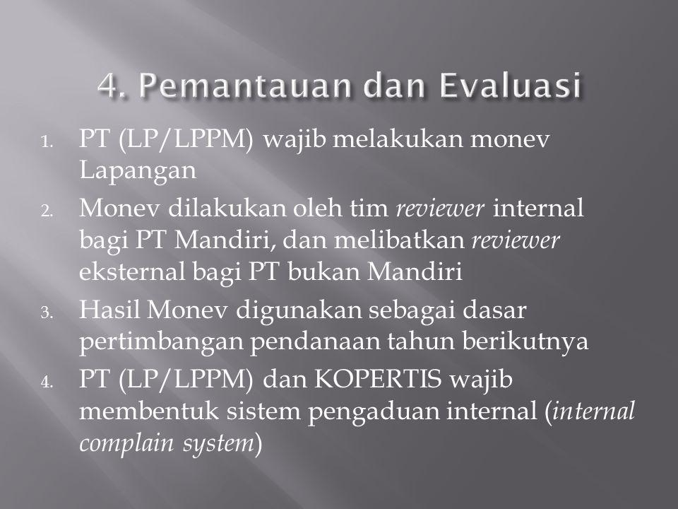 1. PT (LP/LPPM) wajib melakukan monev Lapangan 2. Monev dilakukan oleh tim reviewer internal bagi PT Mandiri, dan melibatkan reviewer eksternal bagi P