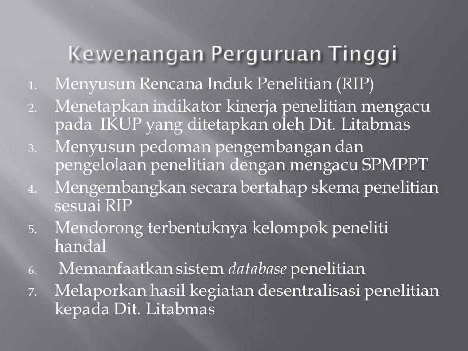 1.Mewakili Dit. Litabmas dalam kontrak pelaksanaan desentralisasi penelitian dengan PTS 2.