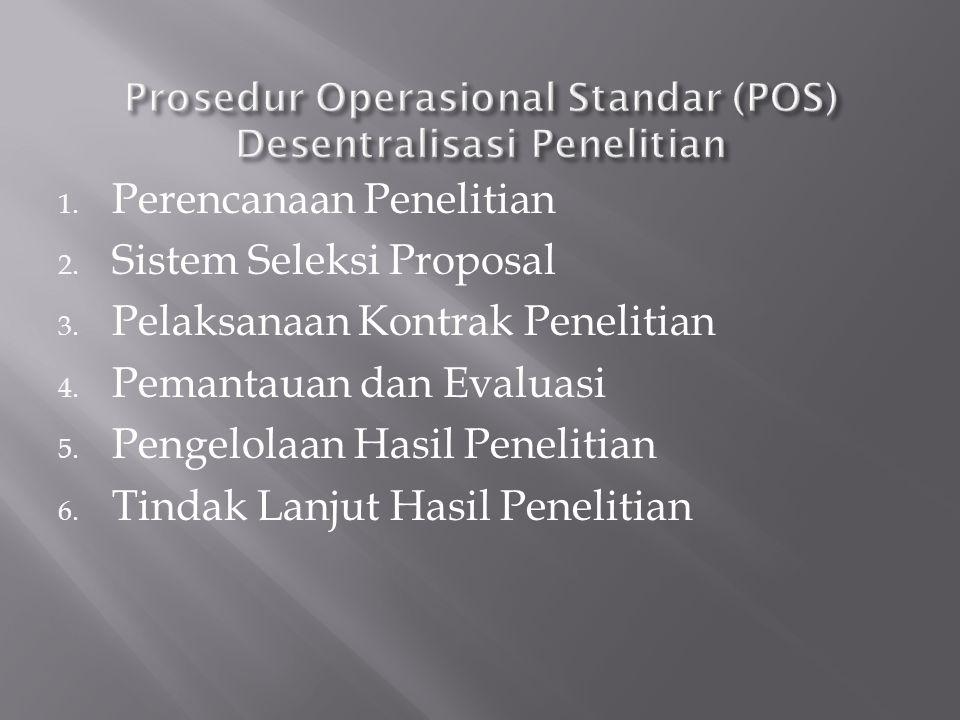 1. Perencanaan Penelitian 2. Sistem Seleksi Proposal 3. Pelaksanaan Kontrak Penelitian 4. Pemantauan dan Evaluasi 5. Pengelolaan Hasil Penelitian 6. T