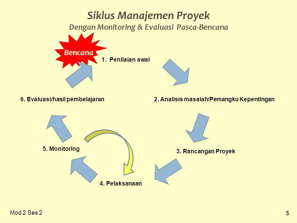 5 Mod 2 Ses 2 Siklus Manajemen Proyek Dengan Monitoring & Evaluasi Pasca-Bencana Bencana 2. Analisis masalah/Pemangku Kepentingan 3. Rancangan Proyek