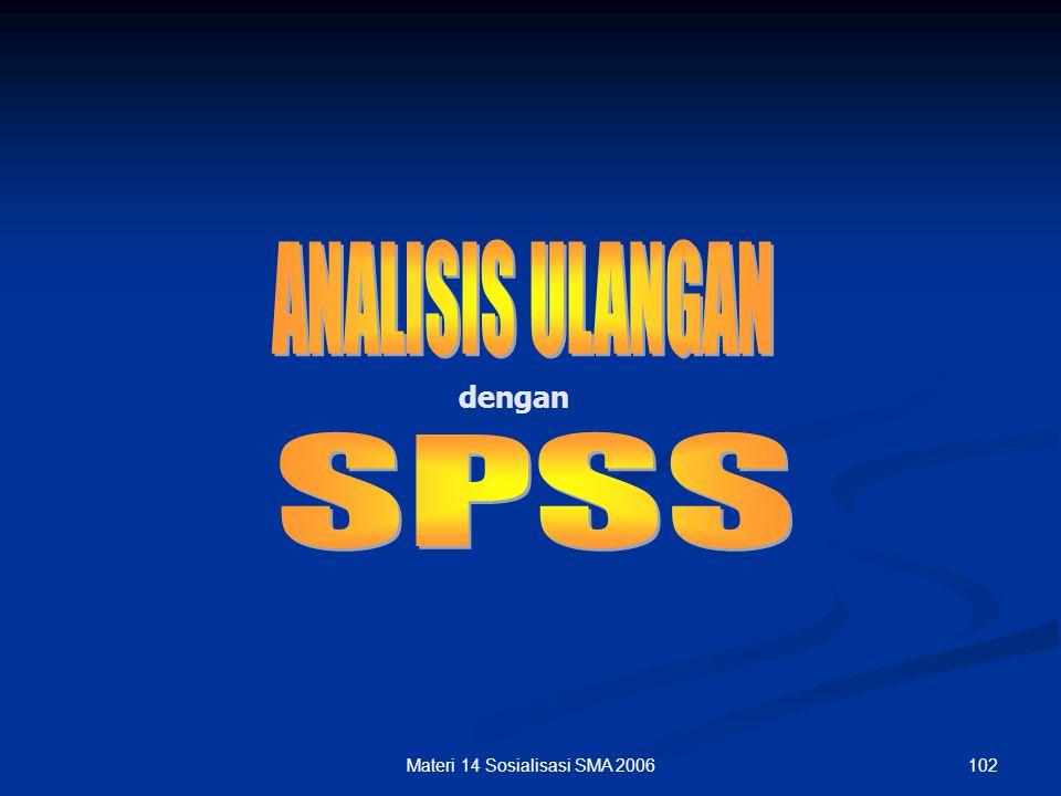101Materi 14 Sosialisasi SMA 2006 RINGKASAN N of Items 50 (Jumlah soal yang dianalisis) N of Examinees 35 (Jumlah siswa) Mean 30 (Rata-rata jawaban be