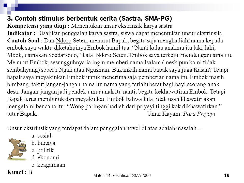 Materi 14 Sosialisasi SMA 200617 2. Contoh stimulus berbentuk kasus (Sosiologi, SMA-PG) Kompetensi yang diuji : Memberikan contoh perilaku menyimpang